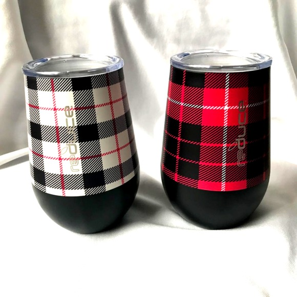 Reduce Other - Set of 2 Metal Plaid Wine Tumblers